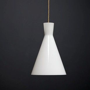 White flashed glass pendant lights.  English 1960s.