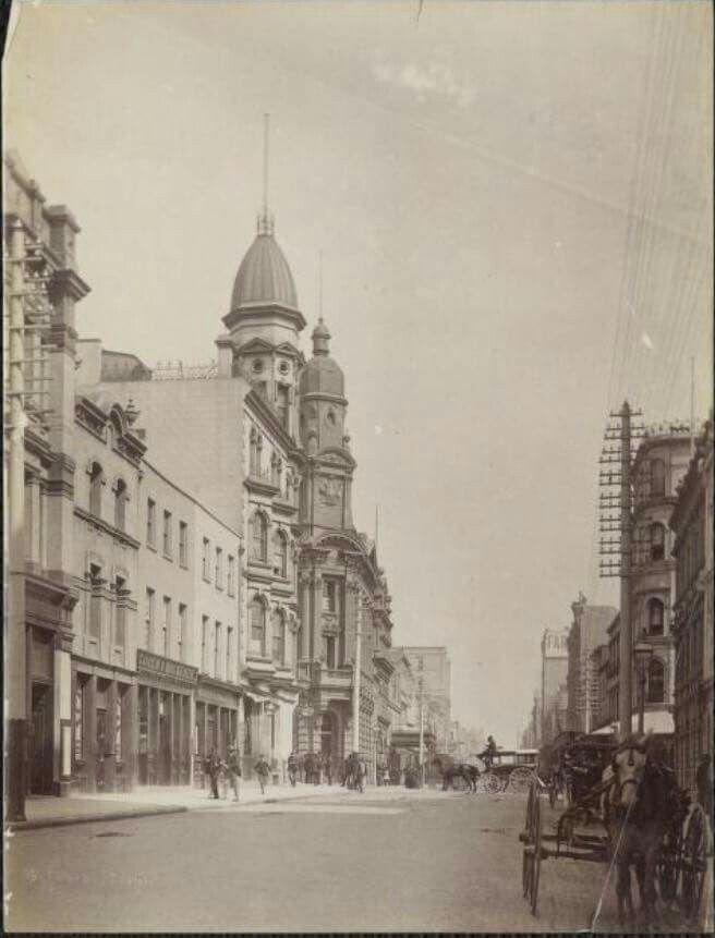 Pitt St,Sydney in 1880.Taken near the King St intersection. •State Library of NSW•