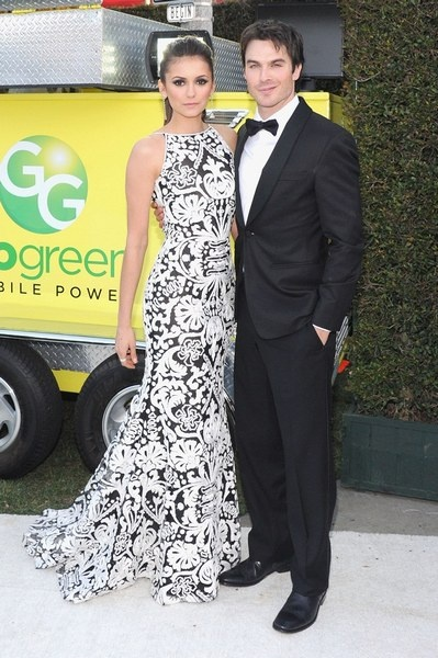 Nina Dobrev's dress is almost as gorgeous as her date! Ok maybe that's an exaggeration, but it's a pretty nice dress.