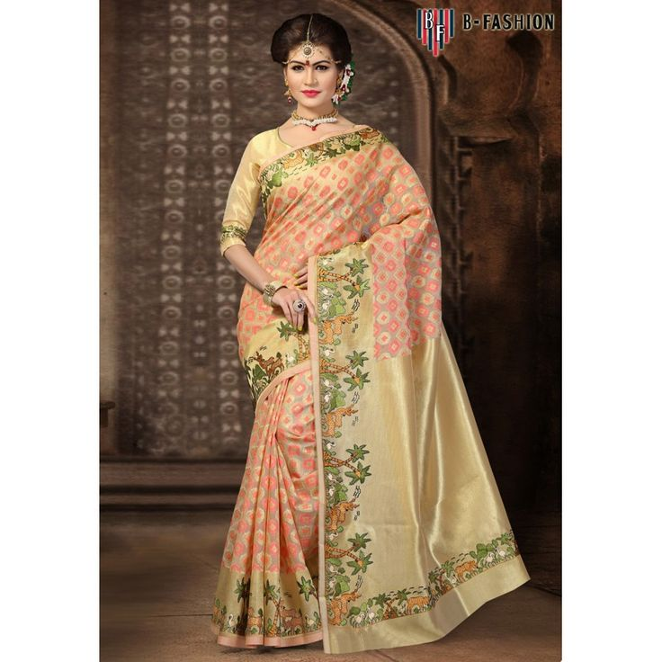 Preety Beige Color Pure Banarasi Silk Sarees at just Rs.2700/- on www.vendorvilla.com. Cash on Delivery, Easy Returns, Lowest Price.
