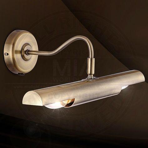 Antik Bilder Leuchte Spiegel Golden/ Lampe Bad Wand Badezimmerlampe Badezimmerleuchte Badlampe Badleuchte Bilderlampe Bilderleuchte Spiegellampe Spiegelleuchte