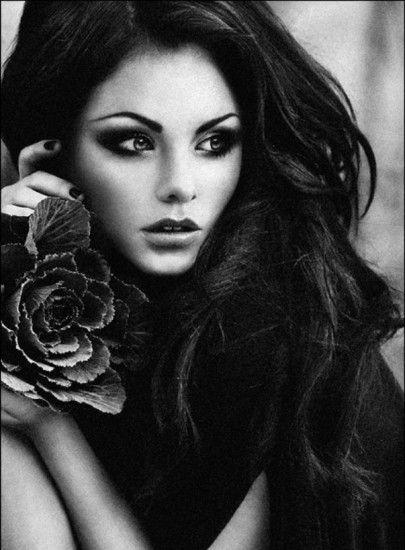Hair Beautiful, Dark Hair, Style, Dark Eye, Black And White, Hair And Makeup, Fashion Photography, Black N White Photography, Beautiful Image