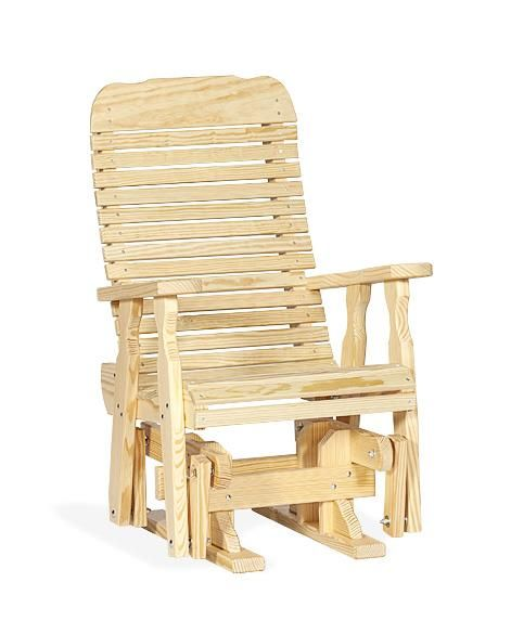amish pine single extra wide outdoor glider chair