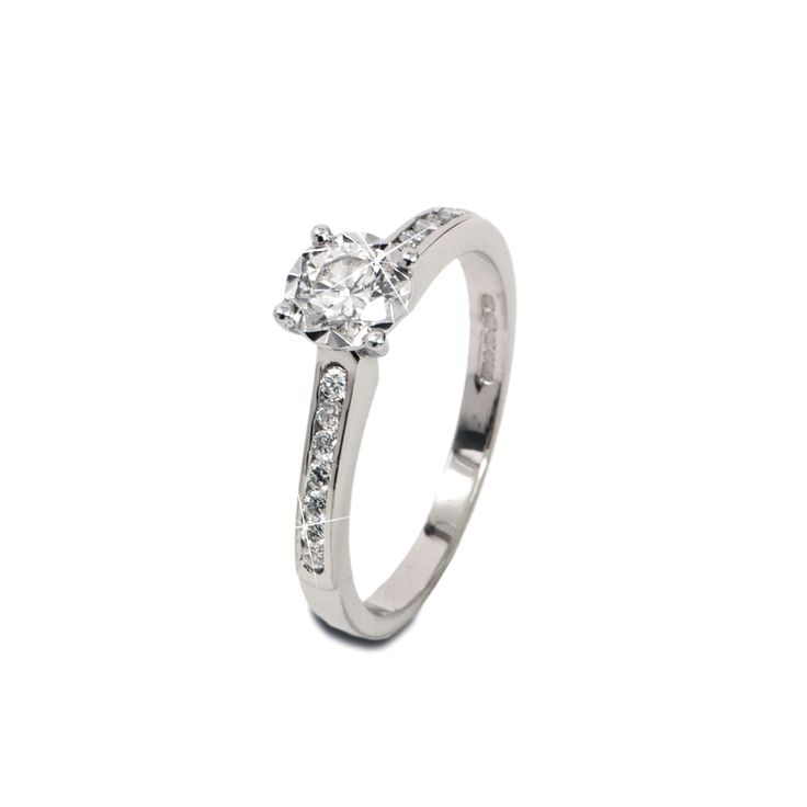 Diamond Solitaire Ring With Diamond Band, Gold Diamond Ring, Wedding Band Classic Elegant Engagement Ring, Anniversary Gift by ArahJames on Etsy https://www.etsy.com/listing/249500003/diamond-solitaire-ring-with-diamond-band
