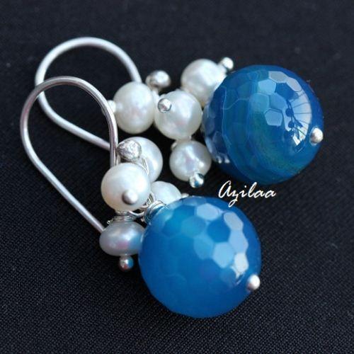 Blue agate gemstone pearl sterling silver handmade earrings ₹1500.00
