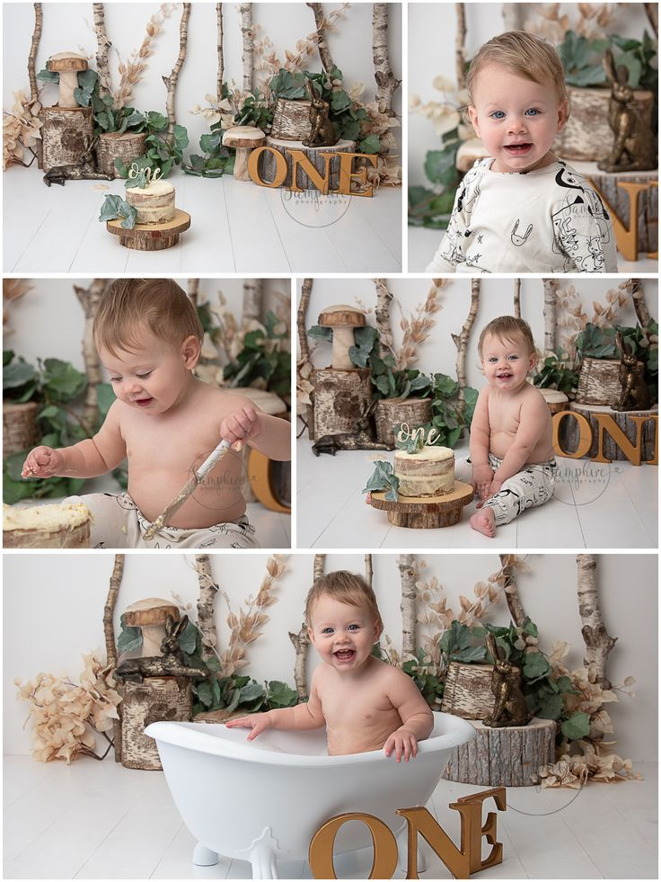 woodland themed Cake Smash with gold and green in
