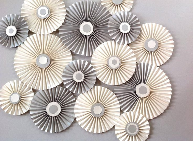 Paper rosettes / Pinwheels / Paper fans/ Wedding décor/ Centrepieces Set of 10 /Metallic Cream Silver by MrsBowEventSupply on Etsy