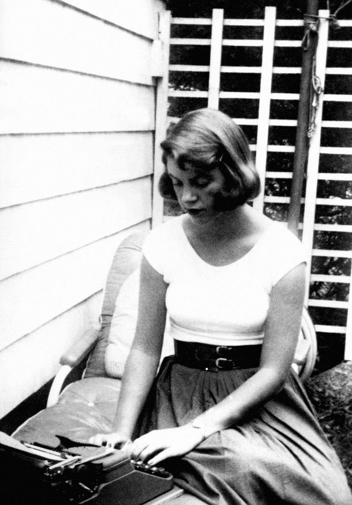 A picture of my mother, Sylvia Plath, on a Typewriter working on a book :) -Frieda Hughes