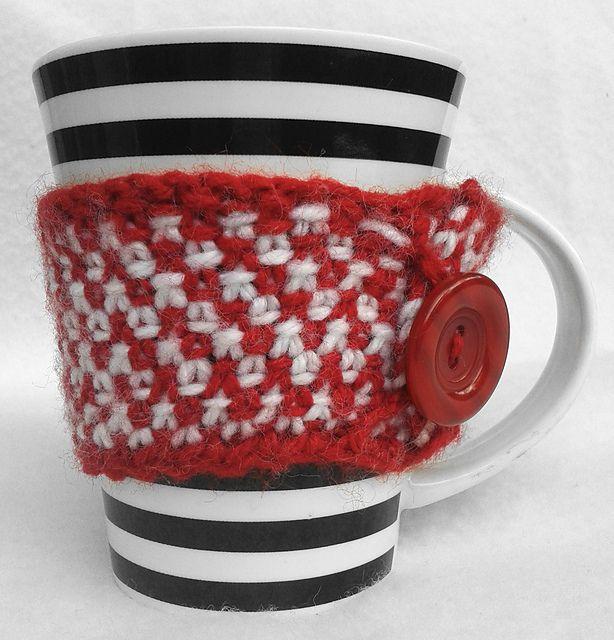 Ravelry: NanniClover's Red & White Linen Stitch Mug Cosy
