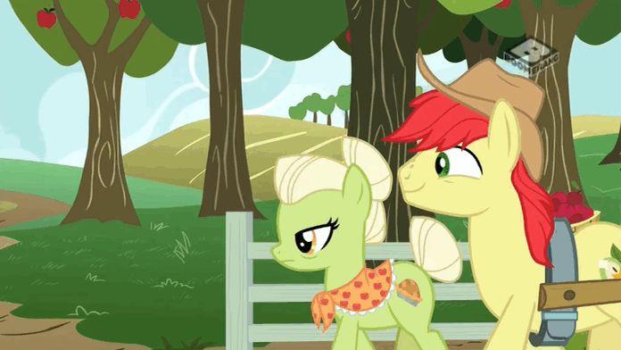 #1467674 - animated, boomerang (tv channel), bright mac, granny smith, safe, screencap, spoiler:s07e13, the perfect pear - Derpibooru - My Little Pony: Friendship is Magic Imageboard