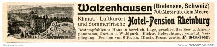 Original-Werbung/ Anzeige 1914 - HOTEL-PENSION RHEINBURG / WALZENHAUSEN / BODENSEE / SCHWEIZ - ca. 115 x 20 mm