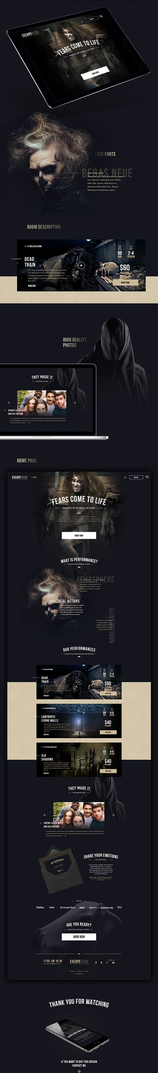 Escape room. Webdesign / website.