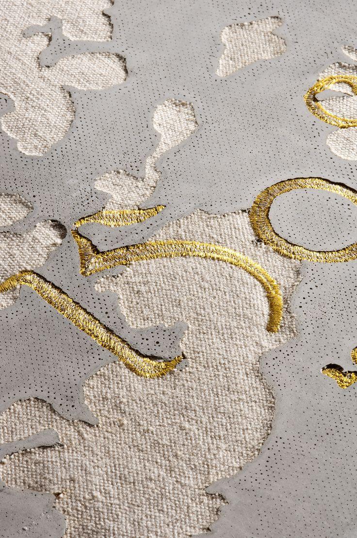 stitched logo and linen concrete