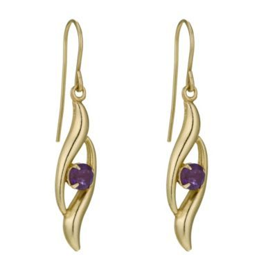 9ct Yellow Gold Amethyst Swirl Earrings- H. Samuel the Jeweller