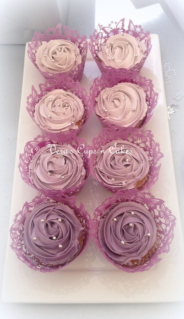 Ombre purple forestfruit cupcakes, ombre paarse bosvruchten cupcakes