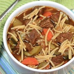 "Peruvian Beef Noodle Soup (Sopa Criolla) |  Recipe by Allen Goforth | ""A tasty hearty soup that is great for the cold winter days."""
