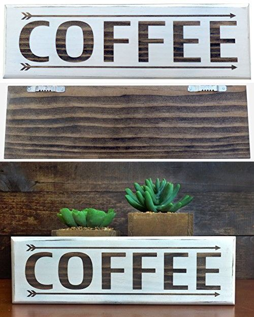 Coffee Sign Shabby Chic Style Kitchen Decor Vintage White Wood