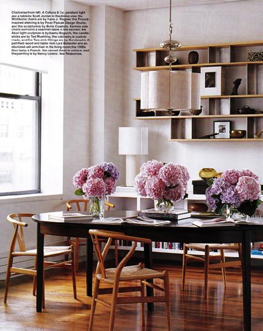 Pink bouquets.: Wishbone Chairs, Dining Rooms, Ideas, Floating Shelves, Elle Decor, Interiors, Design, Flower, Dining Tables