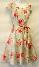New Ladies Nude Pink Floral 1940's/50's Vtg style Land Girl Swing Tea Dress UK 8
