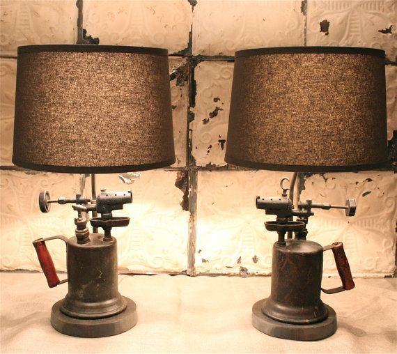 Industrial Pair of Lamps Made From Antique Blowtorches Paired with Gray Linen Shades