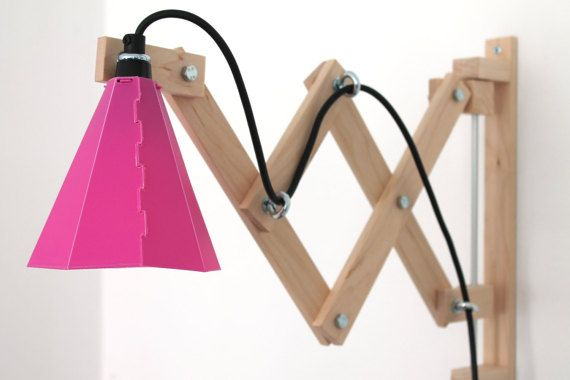 swing arm lamp wall mounted / wooden scissor lamp / by Studiomet More