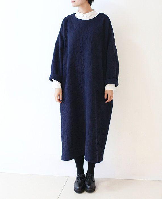 Women Winter Coat  Thicken Cotton Dress Tunic Plaid Navy by lanbao