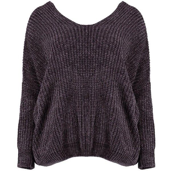 Boohoo Lana Oversized V Neck And Back Chenille Jumper (425 EGP) ❤ liked on Polyvore featuring tops, sweaters, chenille sweater, v neck sweater, boohoo jumpers, purple jumper and v-neck sweater