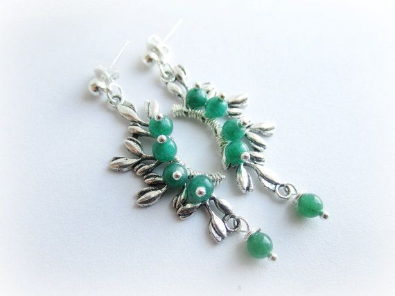 Branch earrings green aventurine earrings by MalinaCapricciosa