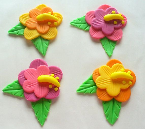 12 Edible Fondant Tropical Hawaiian Luau Hibiscus Flower Cupcake Toppers