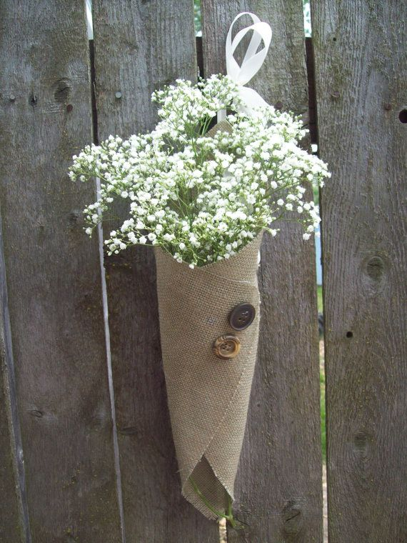 Set of 10 burlap pew cones for flowers rustic by for Decorative burlap bags