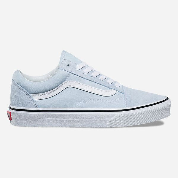 Vans Old Skool Baby Blue & True White Shoes ($60) ❤ liked