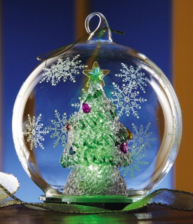 Illuminated Led Ornaments: Lighted Christmas Tree Glass Ball Ornament