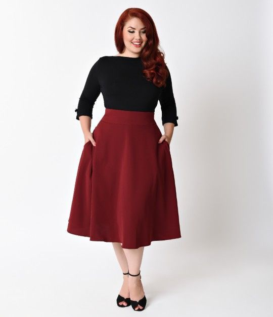 Preorder -  Unique Vintage Plus Size Retro Style Burgundy High Waist Vivien Swing Skirt