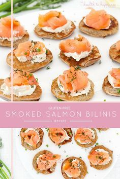 These simple gluten-free smoked salmon blinis topped with fresh smoked salmon are the perfect healthy canapé to serve when you have guests.