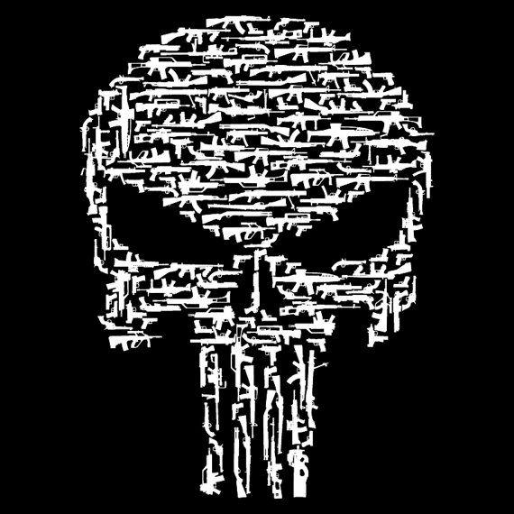 Punisher nero stile pistola cranio camicia a maniche lunghe