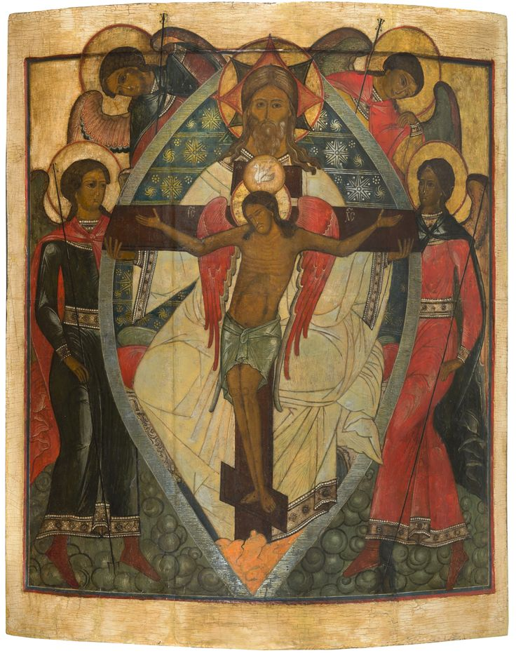 A RARE RUSSIAN ICON OF THE TRINITY WITH CHRIST CRUCIFIED, CENTRAL RUSSIA, 17TH CENTURY - October 25th 2014 Auction - Past Auctions