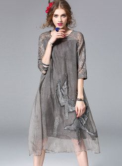 Silk Hollow Out Embroidered Three Quarters Sleeve Shift Dress
