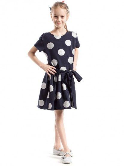 Παιδικό Κοντομάνικο Πουά Φόρεμα KIDIN - σκούρο μπλε