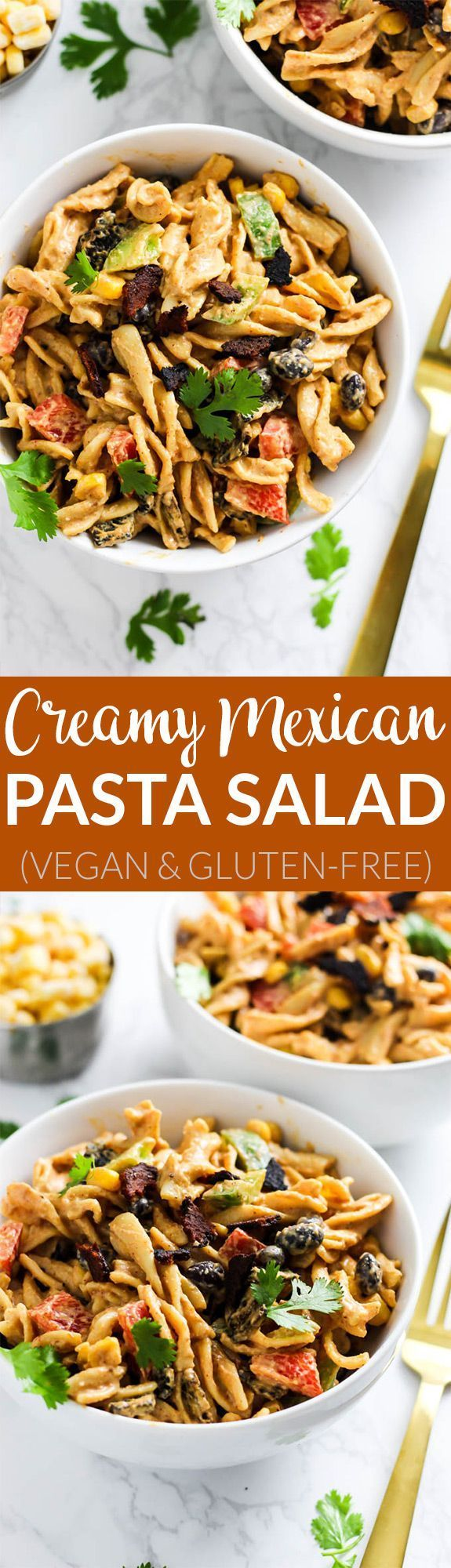 This Creamy Vegan Mexican Pasta Salad is packed with spicy flavor, vegetables and healthy fats to satisfy you at meal time. Only 30 minutes of prep time! /sweetearthfoods/ #ad #sweetearth