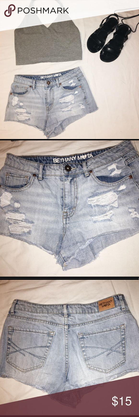 Bethany Mota (AERO) High Rise Shorty Denim Shorts size 6 (runs small) | light wash denim | distressed | excellent condition / lightly worn | from Aeropostale, Bethany Mota's clothing line   •ships right away  •clean, non-smoking home  •no trades  •comment any specific questions Aeropostale Shorts Jean Shorts