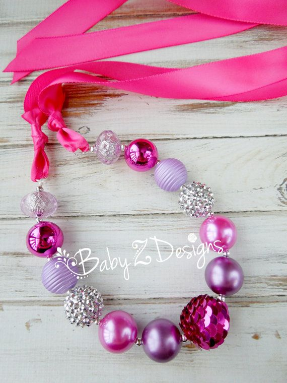 Purple Silver and Pink Satin Chunky Necklace  Fits Toddlers up to Adults by babyzdesigns, $12.99 Perfect for Princess or Barbie themed Birthday parties!!