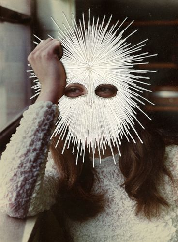jessica wohl | white mask, 2012 | embroidery on found photograph