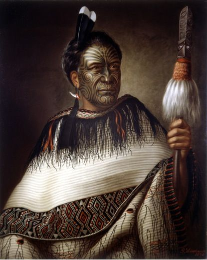Tā moko is the art of facial and body tattooing among the Māori of New Zealand and is one of the world's most unique, complex and beautiful tattoo traditions.  This is a portrait of Chief Ngairo Rakai Hikuroa by Gottfried Lindauer, 1878.