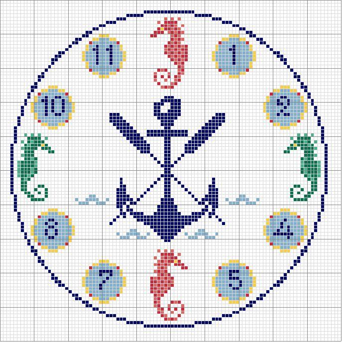 Schema punto croce Orologio 1
