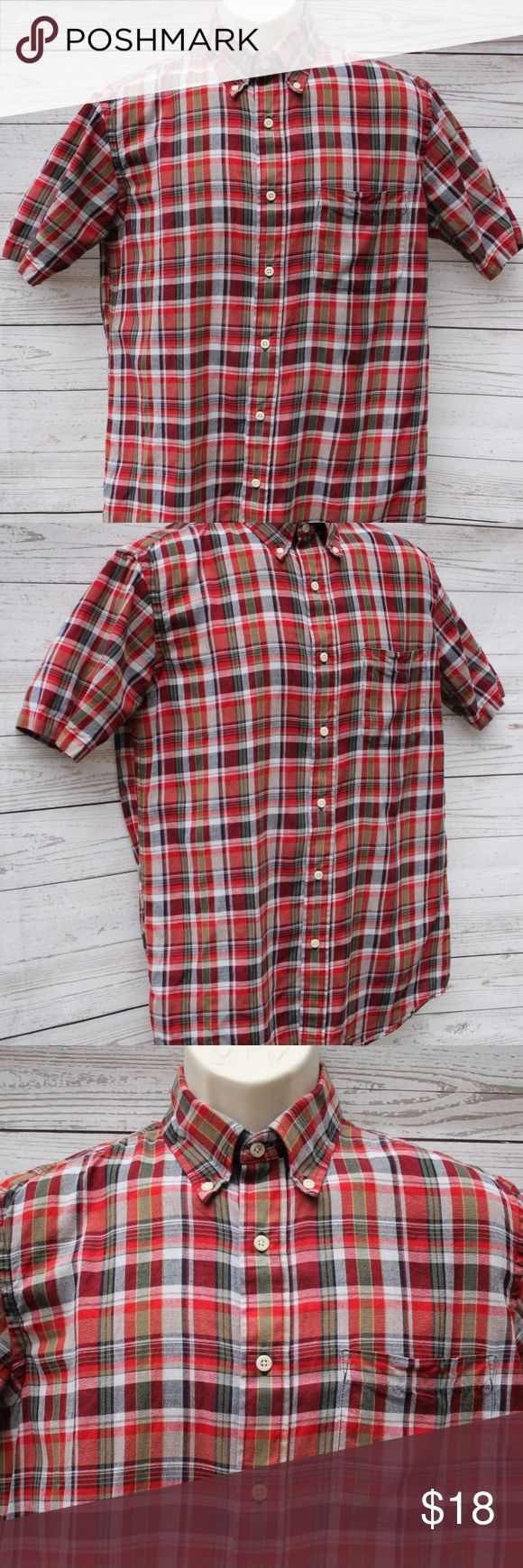"""Pendleton Mens Size Small Seaside Shirt Pendleton Mens Small Seaside Shirt Red Plaid Short Sleeve Cotton Button Down  All measurements are approximate and taken unstretched and laying flat.  Chest: 42"""" Length: 31"""" Sleeve: 16.5""""  EUC no rips or stains  If you have any questions, please don't hesitate to send me a message. Please feel free to check out the other items listed in my store  Note to Buyers: **Colors may vary slightly from photos of item, due to lighting, camera, editing, screens…"""