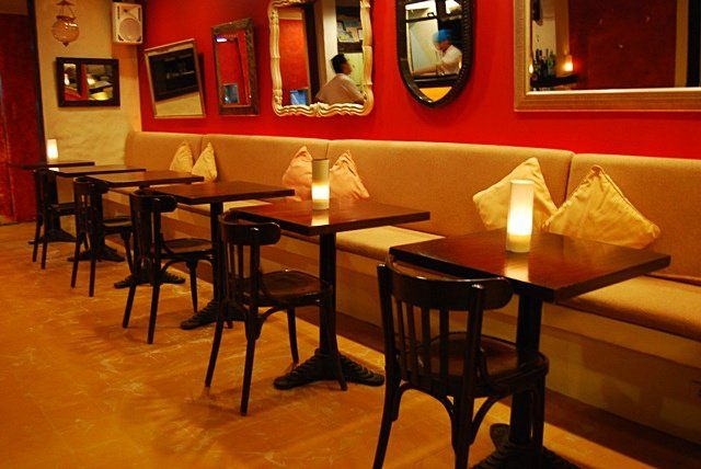 Very small restaurant design the sofas were soft and