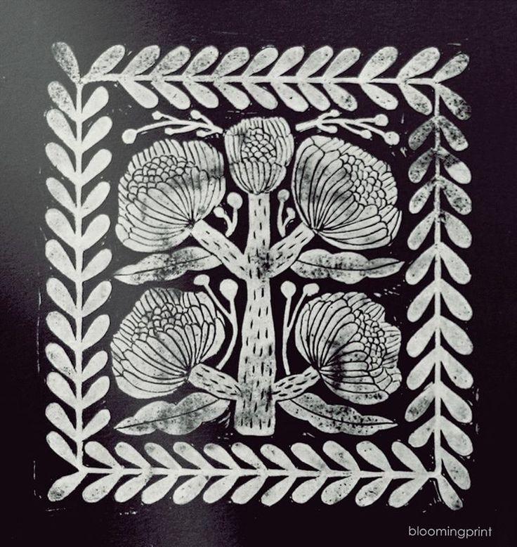 "103 likerklikk, 11 kommentarer – Elise young Uhm (@bloomingprint) på Instagram: ""⚪️⚫️⚪️⚫️ #blockprint #blockprinting #printmaking #handcarved #linocut #stamp #stamping #print…"""