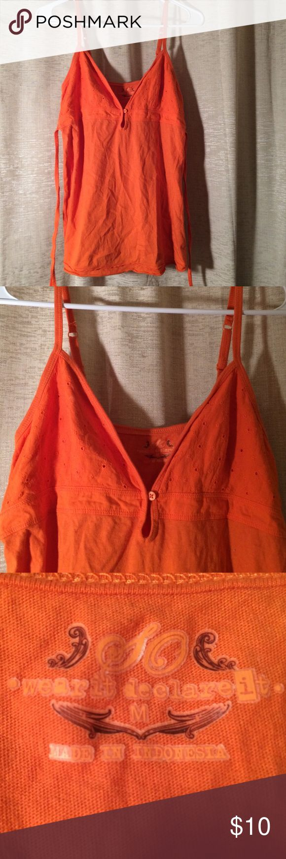 DEEP PLUNGE BUTTON PEEP HOLE ORANGE SPAGHETTI TOP Perfect condition with tie back SO Tops Camisoles