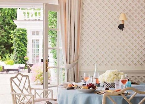 TRELLIS  If 2017 was the year the inside went out (hi, oriental rug on the patio), 2018 will go down as the year that outside came in. First up? Garden-inspired trellis work on walls, mantles and ceilings. Why we love it? It offers great texture, arresting subtle patterning and it's fresh as, well, a backyard oasis.