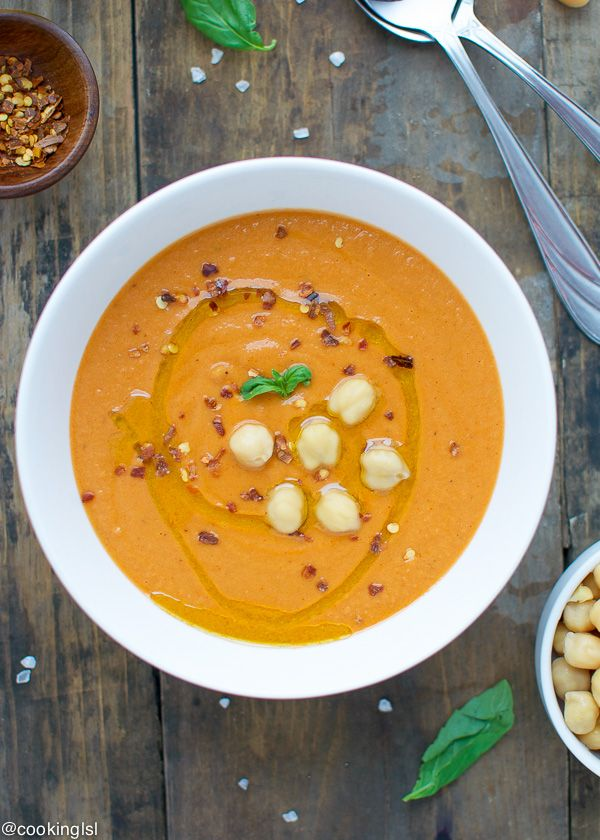 Creamy Tomato Chickpea Soup, comforting, fast to make and very easy to make with ingredients you most likely have in your pantry.